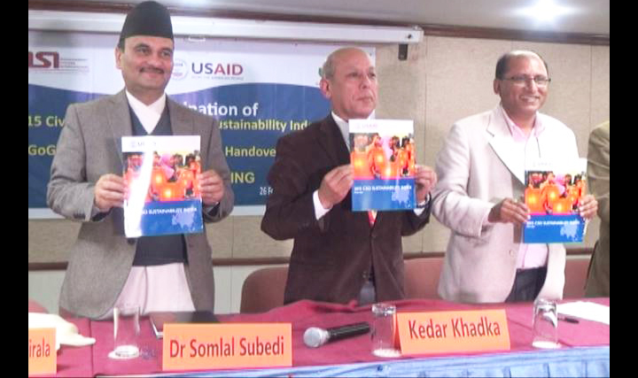 Dr Somlal Subedi, Chief Secretary, Office of Prime Minister & Council of Minister along with CSO representatives unveiling CSOSI Report 2015