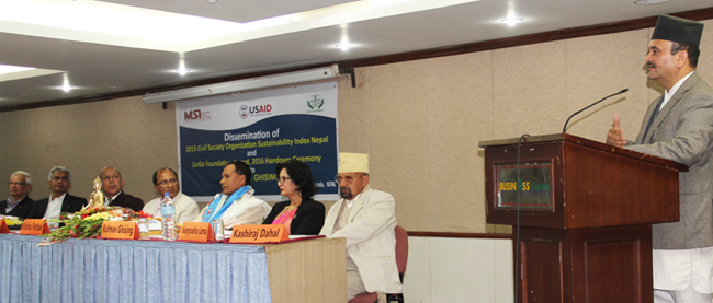 Dr Somlal Subedi, Chief Secretary, Office of Prime Minister & Council of Minister speaking at the CSOSI 2015 Report lauhcing porgram